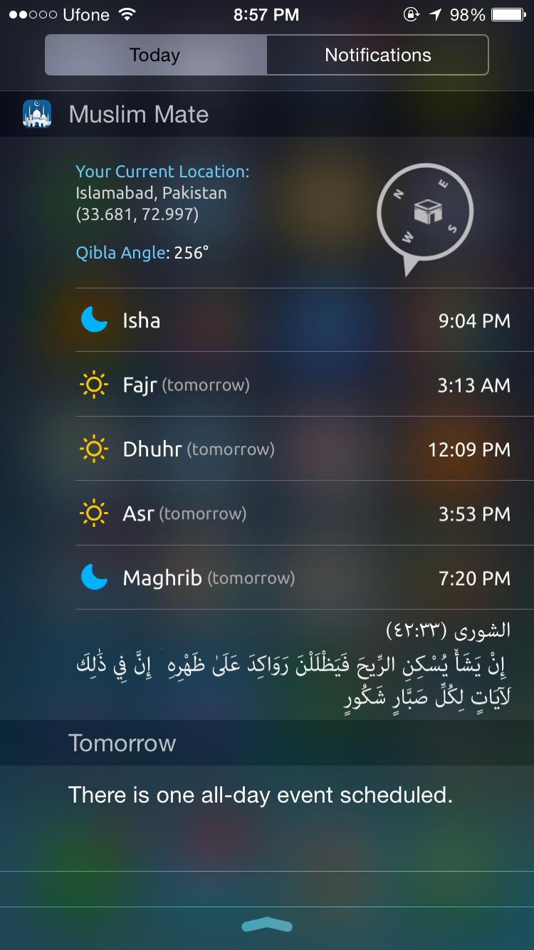 iPhone Islamic App - Today Widget